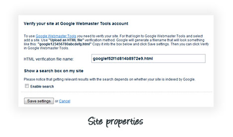 Edicy site properties - verify your Google Webmaster Tools account